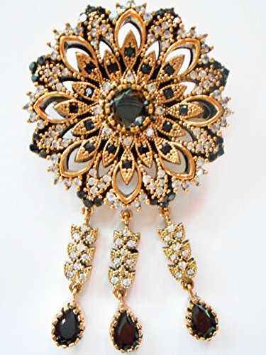 Vintage Ottoman 925 silver gold vermeil black stone and diamond pin brooch ()