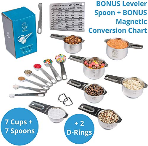 Stainless Steel Measuring Cups and Spoons Set: 7 Cup and 7 Spoon Metal Measure Sets of 14 Piece for Dry & Liquid Measurement - Kitchen Gadgets & Utensils for Cooking Food & Baking - Best for Nesting