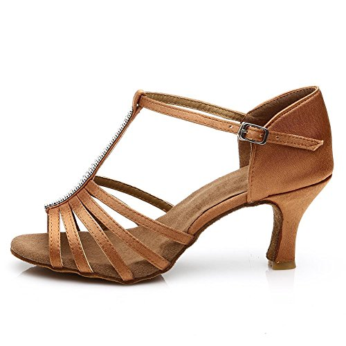 JINFENGKAI Women's Latin Salsa Dance Shoes Style 227 Brown vLVqd11E