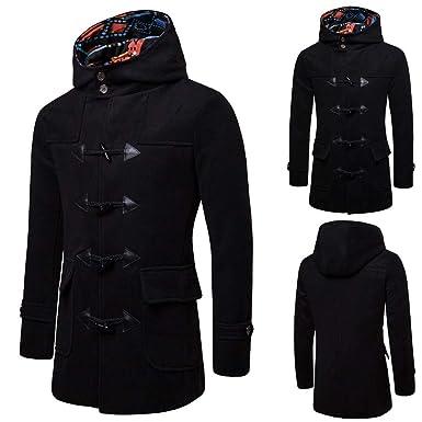 Mens Pea Coats Men Horns Buckle Jacket Winter Trench Long Outwear