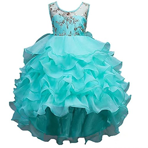 ZAH Little/Big Girls Long Lace Princess Party Dresses Elegant High-low Pageant Wedding Bridesmaid Prom Gown(Mint,7-8Y)