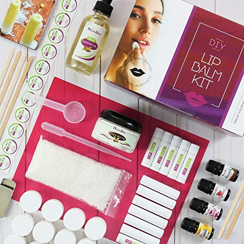 Ultimate Lip Balm Making Kit (87- Piece Set) | All Natural Formula With Beeswax, Shea Butter, Almond Oil+ 4 Rich Flavors to Create 25 Lush Lip Balms | Best Holiday Gift & Craft Kit For Adults