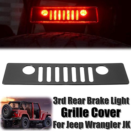 DEDC Black Jeep Wrangler Third Brake Tail Light Cover for 2007-2017 Jeep Wrangler Unlimited JK JKU Rubicon Sahara Sport X S (Brake Light 3rd Cover)