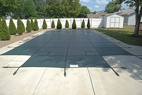 (PoolTux Safety Pool Cover for 18' x 36' In Ground Pool, King99 Mesh Green with 4'x8' Center End Step, 20 Year Warranty)