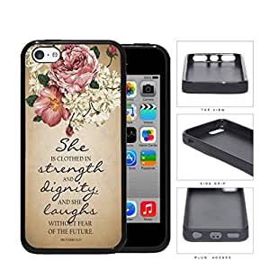 Proverbs 31:25 Bible Verse with Pink Vintage Roses and Tan Grunge iPhone 5c pc Silicone pc Cell Phone Case