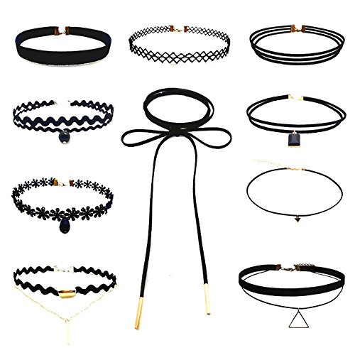 10 Pieces Women Choker Necklace Set Stretch Velvet Classi...
