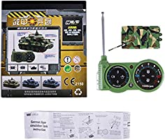 Dark green Mini 1:72 Scale Rotating Turret and Recoil Action When Cannon Artillery Shoots Giveme5 German Tiger I Panzer Tank Diecast with Remote Control Sound Light Battery Tank Model Kit