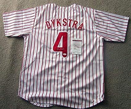 27036b9c36eb Lenny Dykstra Philadelphia Phillies Autographed Signed Jersey (Size XL) JSA  Certificate  1