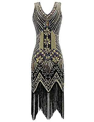 Opino Womens 1920s Style Beaded Sequined Deco Fringe Flapper Gatsby Dress