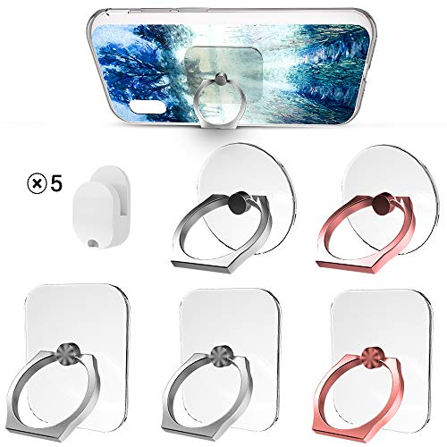HOOXIN [5 Pack] Cell Phone Ring Holder Stand Transparent,360 Degree Rotation Phone Ring Holder Transparent Finger Ring Stand Kickstand for Phone