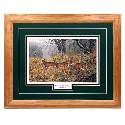 Terry Doughty, Whitetail Deer Herd Classic Wall Art Print for Home/Office/Hotel/Cabin/Gift, 17 x 21 in, Green Mat/Light Oak Frame - More Frames Available