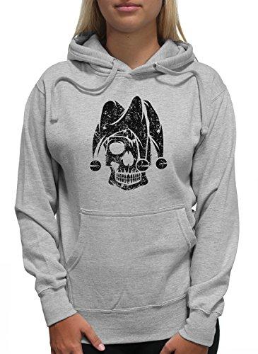 Young Motto Women's Jester Skull Hoodie]()