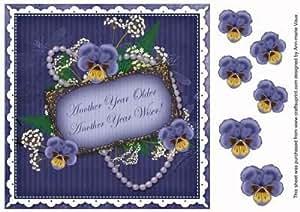 Diseño de pensamientos anteriores para otro año DBlue! 8in para collage Vintage para pastel de Ann-Marie Vaux