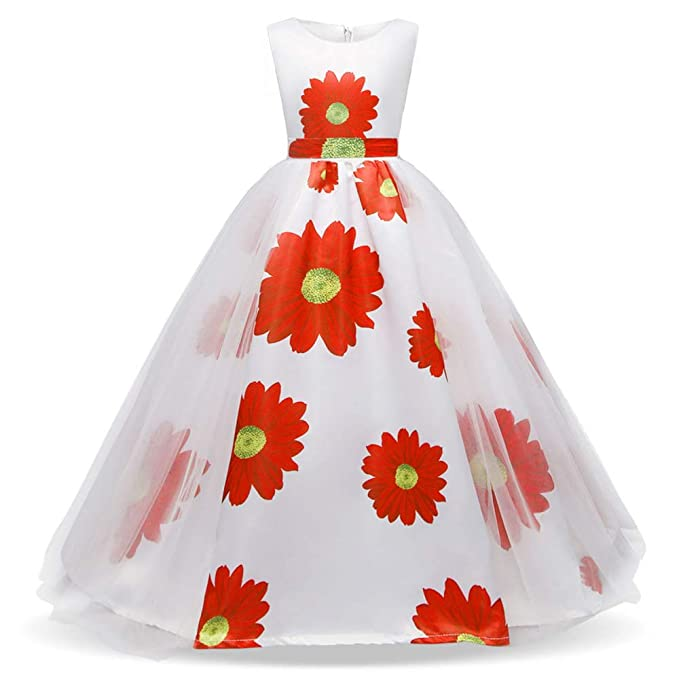 LADYLUCK Girls Print Dress Bow Tutu Wedding Birthday Party 5 12 Years Old