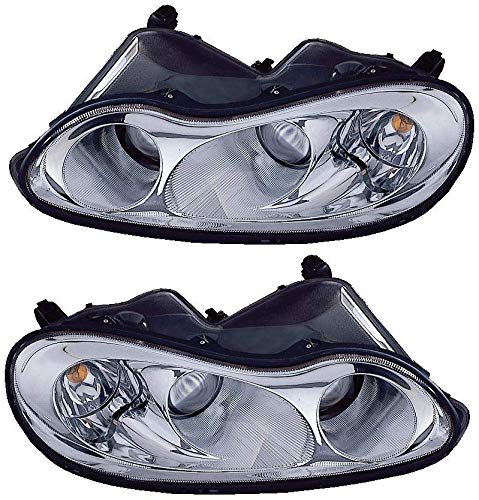 For 2002 2003 2004 Chrysler Concorde Headlights Headlamps Driver Left and Passenger Right Side Pair Set Replacement CH2502148 CH2503148