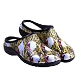 Backdoorshoes Waterproof Premium Garden Clogs With Arch Support, Chicken Print, 9 B(M) US