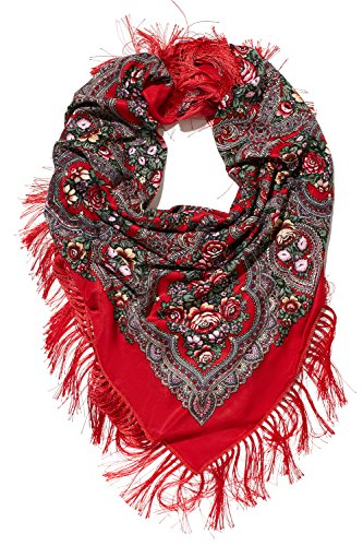 Ladies Floral Shawl With Tassels Ukrainian Polish Russian Style Shawls For Women (red)