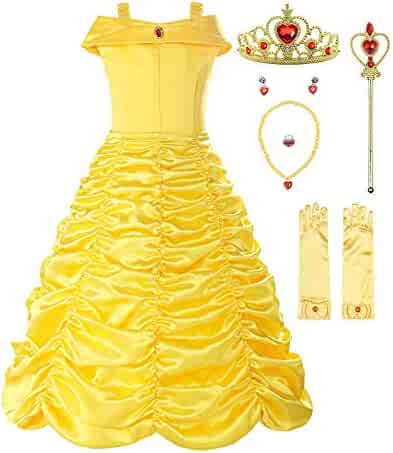 ReliBeauty Little Girls Layered Princess Belle Costume Dress up, Yellow