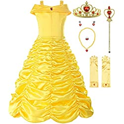 ReliBeauty Little Girls Layered Princess Belle Costume Dress up with Accessories, Yellow, 3T