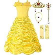 ReliBeauty Little Girls Layered Princess Belle Costume Dress up, Yellow