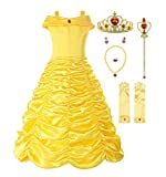 ReliBeauty Little Girls Layered Princess Belle Costume Dress up with Accessories, Yellow, 5-6
