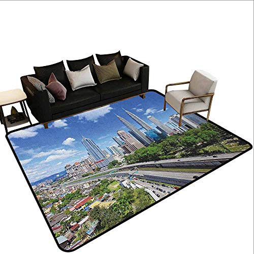 (Printed Carpet City,Kuala Lumpur Skyline in a Clear Day Financial District Highway Skyscrapers, Pale Grey Blue Green)