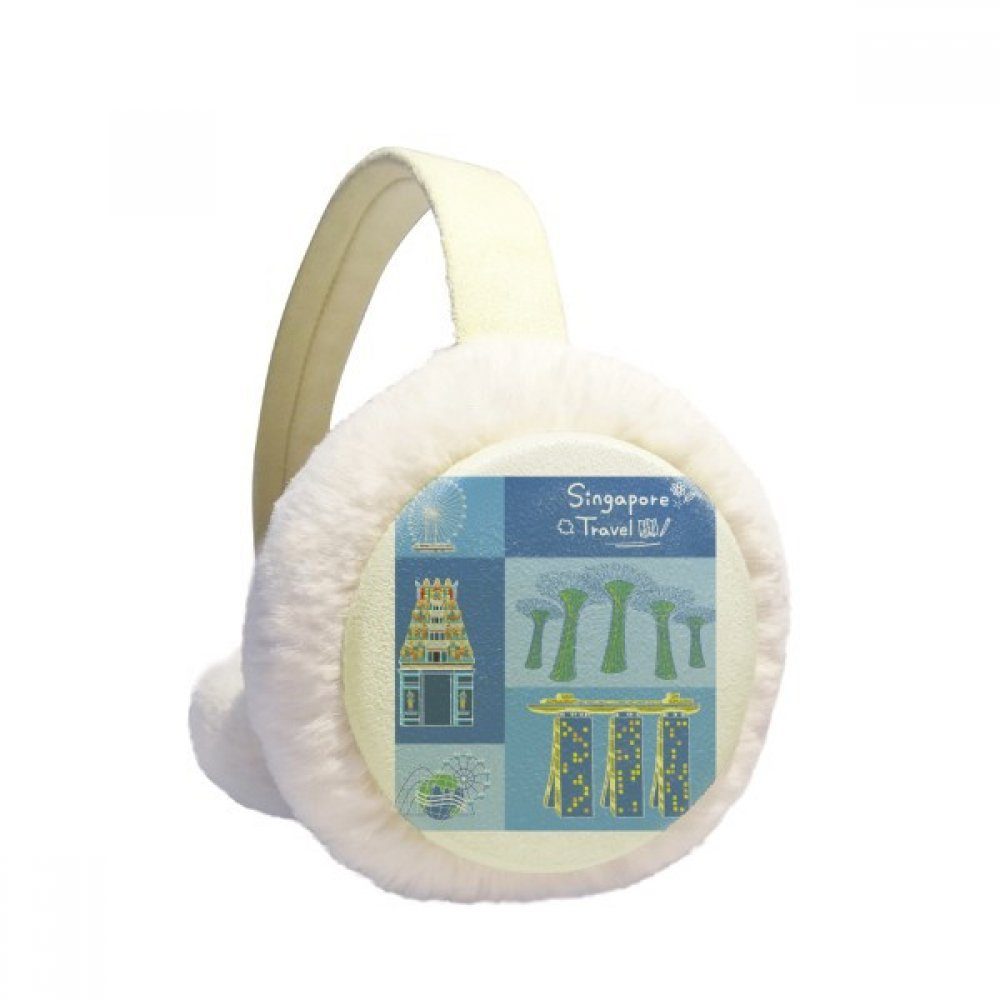 Singapore Travel Landmark Winter Earmuffs Ear Warmers Faux Fur Foldable Plush Outdoor Gift