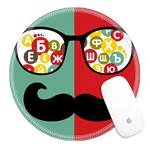 Luxlady Natural Rubber Round Gaming Mousepads Retro sunglasses with reflection for hipster Vector illustration IMAGE ID - Sunglasses M Logo