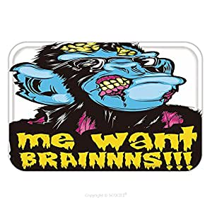 Flannel Microfiber Non-slip Rubber Backing Soft Absorbent Doormat Mat Rug Carpet Zombie Monkey Chimp Colorful Pop Culture Halloween Sticker Me Want Brainnns 481827859 for Indoor/Outdoor
