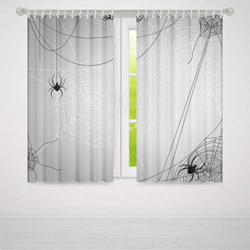 YOLIYANA Window Curtains,Spider Web,Living Room Bedroom Décor,Spiders Hanging from Webs Halloween Inspired Design Dangerous Cartoon Icon Decorative2 Panel Set,79W X 83L Inches ()