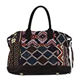 NOVICA Multicolored Leather Accent Cotton Blend Handbag, 'Exotic Journey'