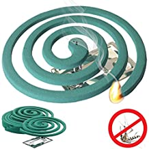 Mosquito Repellent Coils - Outdoor Use Reaches Up to 10 feet - Each Coil Burns for 5-7 hours (Twelve Pack Contains 48 coils & 24 coil stands)