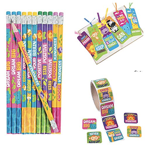Jungle Animal Positive Messages - 24 Pencils - 24 Bookmarks & 48 Stickers - Choose Kindness - Dream Big - Teacher Classroom School Supplies Religious Education VBS Party Favors ()