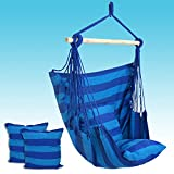 Nova Microdermabrasion Hanging Rope Hammock Chair Swing Seat for Indoor Outdoor Porch Patio Yard,265 lbs Capacity,2 Cushions