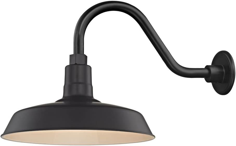 Black Farmhouse Style Industrial Gooseneck Outdoor Barn Light with 14 Shade for Wet and Damp Locations