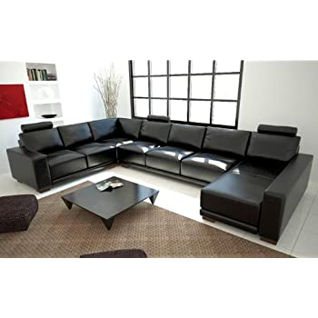 Amazon.Com: New Modern Black / Silver Genuine Leather Sectional