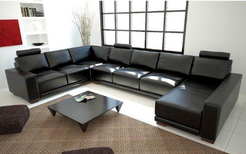 Modern Black Leather Sectional Sofa (U Shaped Couch Sets)