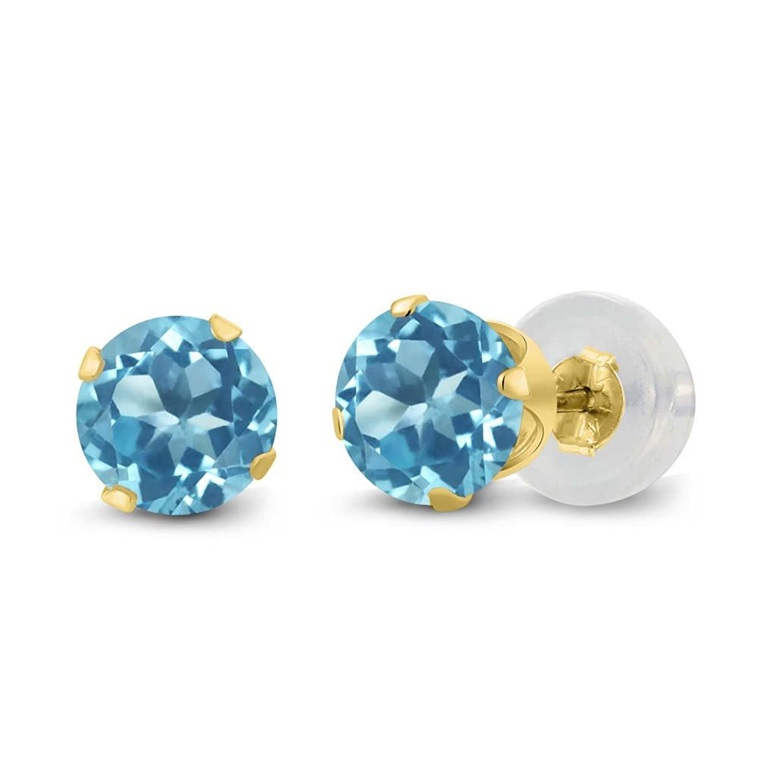 topaz earrings cut gold stud blue cushion chequerboard p yellow