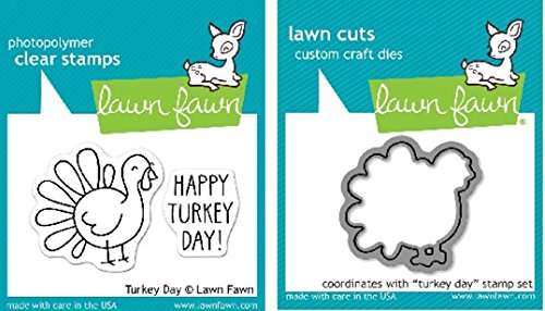 - Lawn Fawn Turkey Day Clear Stamp and Die Set - Includes One Each of LF359 Stamp & LF968 Die - Bundle Of 2