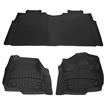 Grey and Black All Weather Protector 4 piece set AutoTech Zone Custom Fit Heavy Duty Custom Fit Car Floor Mat for 2013-2018 Ford Fusion Sedan