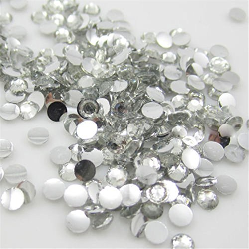 Mirror Facet Round Bead - 2000 Pcs 3mm 14 Facets Resin Round Rhinestone Flat Back Bling Shine Clear Crystal 01