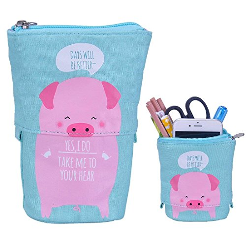 Stand up Pencil Holder Telescopic Pencil Case Transformer Pen Box Cartoon Cute Stationery Pouch Bag Canvas+PU Cosmetics Pouch Stand Store Pen Organizer for Students Boys and Girls (Pink Pig)