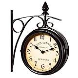 Two Sided Train Station Wall Clock - Black - Vintage Design - Quartz Wall Clock Watch