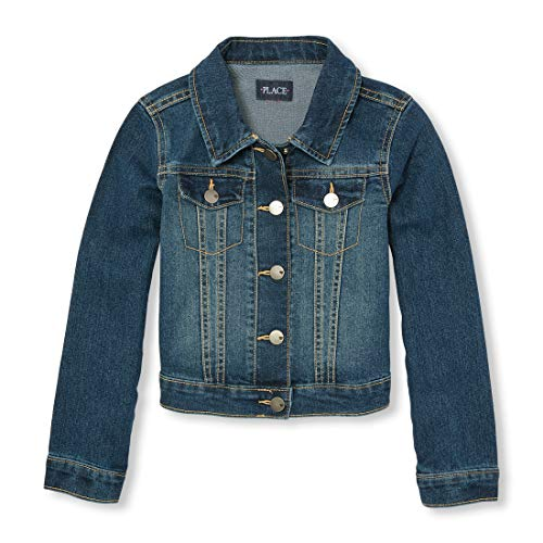 The Children's Place Big Girls' Denim Jacket, Dark Stone, Large/10-12]()