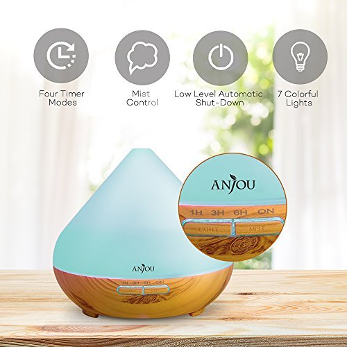 Anjou Oil 300ml, Ultrasonic Aroma Mist for Home Decor to 8H Waterless Auto LED BPA-free