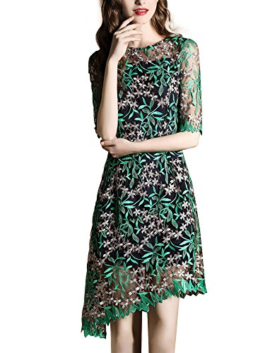 Bestmail Women's Green Floral Embroidery Lace Pencil Cocktail