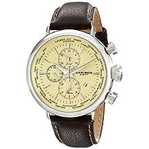 Akribos XXIV Men's AK629SS Explorer World Time Alarm Stainless Steel Cream Dial Brown Leather Strap Watch