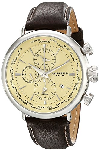 Akribos XXIV Men's AK629SS Explorer World Time Alarm Stainless Steel Cream Dial Brown Leather Strap Watch