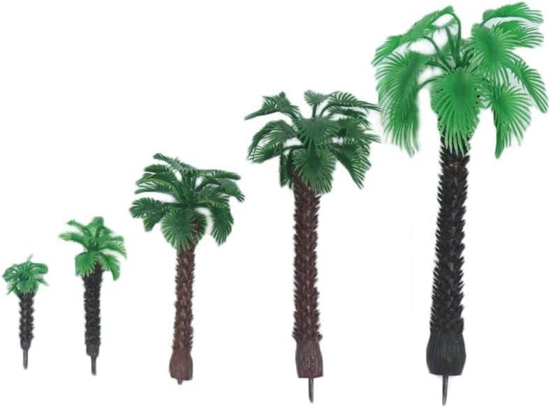 Cake Topper Model Train Railways Architecture Landscape 16pcs Building Model Trees Plastic Artificial Model Coconut Palm Tree Scenery Model Trees for Layout Rainforest