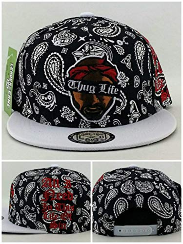 Coast Baseball Hat - Tupac 2pac Leader Bandana Paisley Black White Red Thug Life Era Snapback Hat Cap